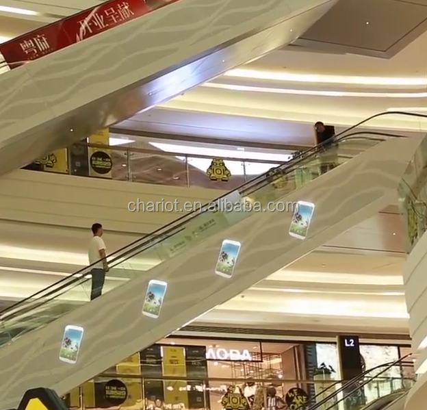 Chariot 3d hologram advertising fan for shopping mall, cloth store, restaurant
