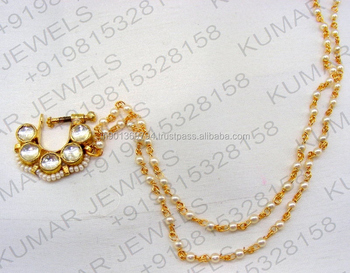 Small Sleek Handmade Kundan Stone Pearl Beaded 22kt Gold Plated