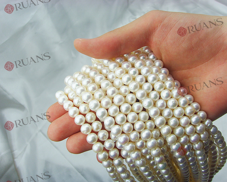 8-8.5 mm B1 grade round shape white pearl strands promotion