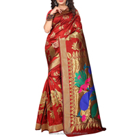 Glorious Red Colored Art Silk Golden Print Weaving Work Saree.