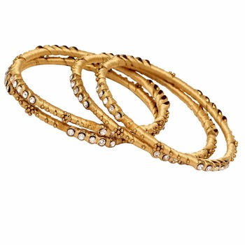 Jaipur Mart Gold Plated Rani Color Glass Stone Bangles Set PLKB284-2.6