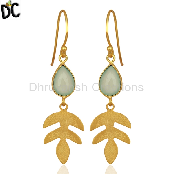 New Arrival Gold Plated Leaf Shape Earring 925 Silver Aqua Chalcedony Gemstone Earrings Supplier