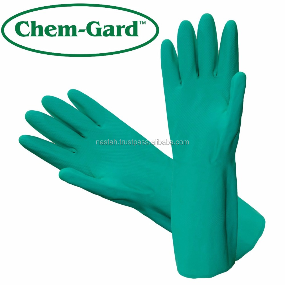 Oil and gas safety oil field long chemical nitrile gloves