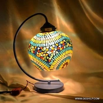 GLASS MOSAIC READING TABLE LAMP WITH FITTING