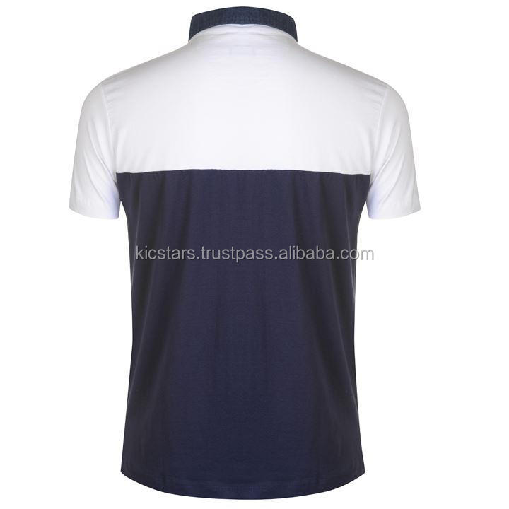 White & Blue Cotton Polo Shirt With Denim Collar For Men