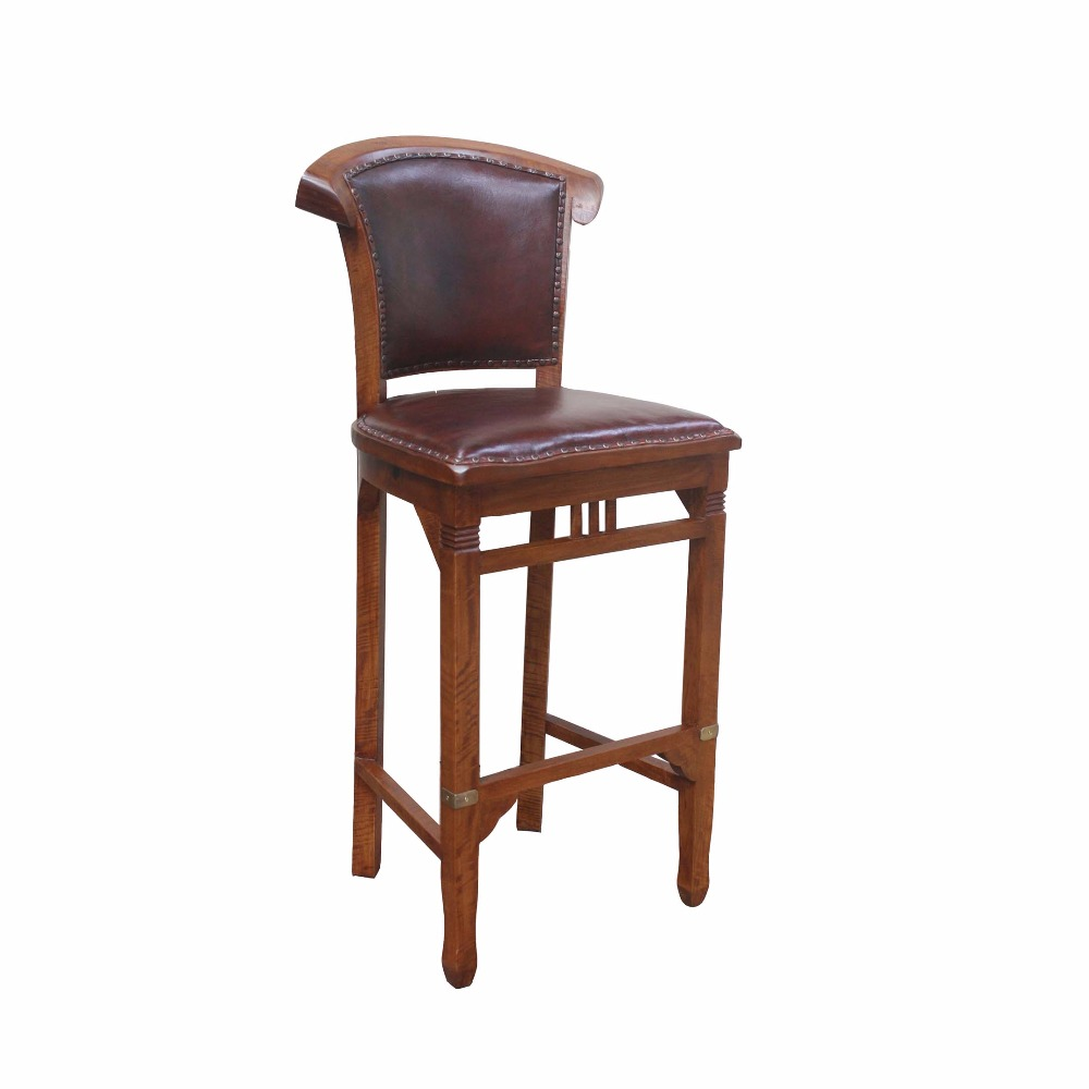 Wooden Chair with Leather Used Bar Furniture Distributor Indonesia