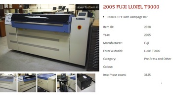 Screen PTR-8100 (Fuji Luxel T9000) Computer to Plate (CTP) with Ramp page RIP