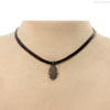 Diamond Hamsa Hand Pendant Leather Collar Choker Necklace