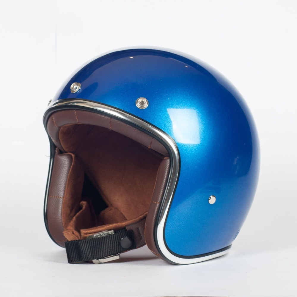 AGYO SSCandy Blue GLOSS with DARK BROWN Padding Open Face Motorbike Helmet