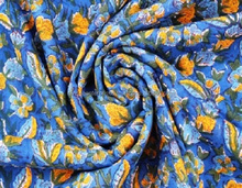 Indian Hand Block Blue Floral Print Fabric 100% Cotton Natural Fabric