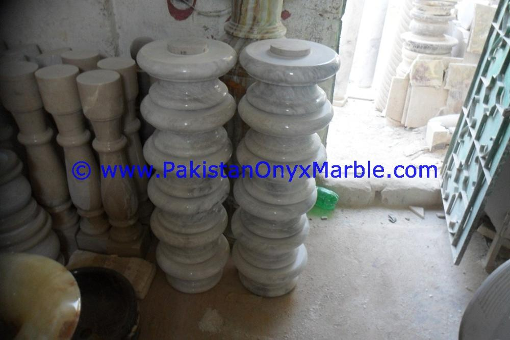 TOP QUALITY MARBLE COLUMNS PILLARS BASES ZIARAT WHITE CARRARA WHITE