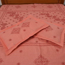 Handmade Indian Orange Cotton Embroidered Bedsheets BL-78