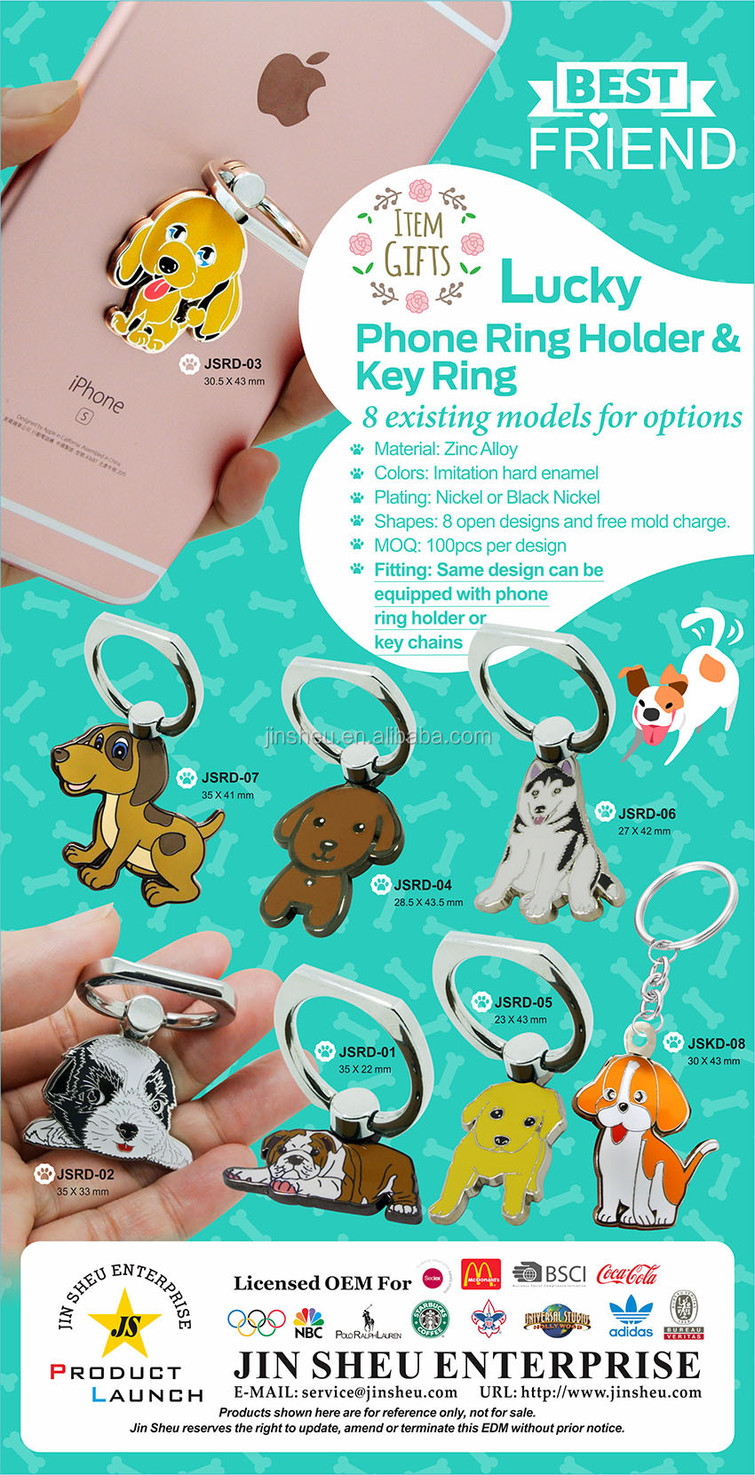 wholesale cheap cute dog cell phone ring holder