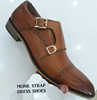 Double Monk Strap Brown Two Tone Men Dress Shoes , Genuine Leather Beautifully Designed and Elegant Luxury Footwear For Men