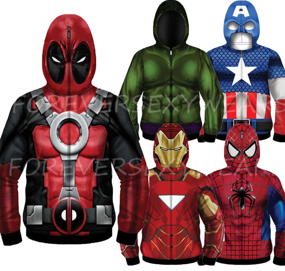 Men Marvel DC Comic Book Sublimated Fleece Hooded Full Mask Zip Hoodie