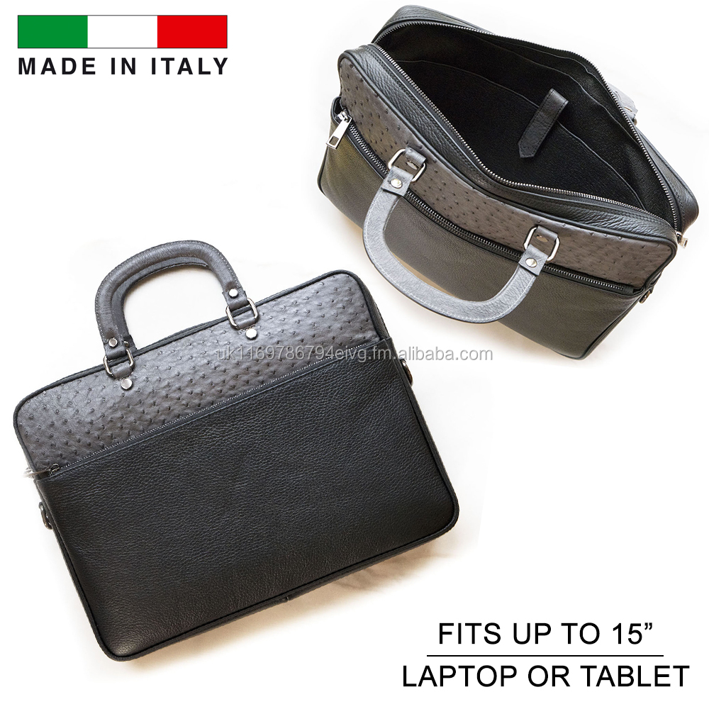 Genuine Ostrich Leather Skin Luxury High End Laptop Messenger Bag Office Business Made in Italy