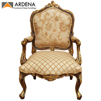 Antique French Living Room Chair with Hand carved and gold leaf Finish Furniture