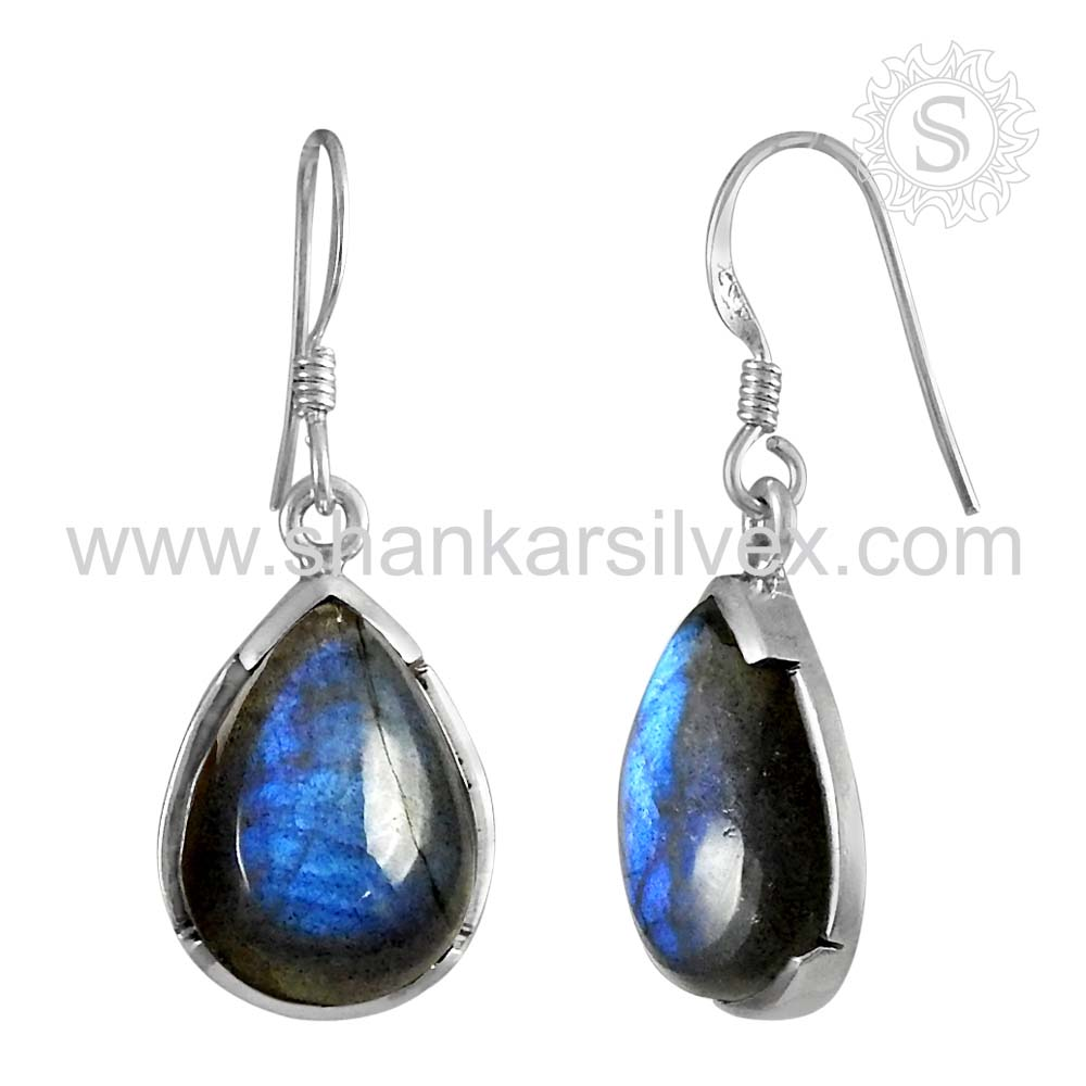 new design labradorite silver ladies fashion earrings wholesale 925 silver earring sterling silver jewelry manufacturer