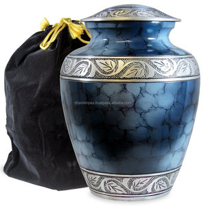 Blue Fire Aluminium Cremation Urn with Velvet Bag
