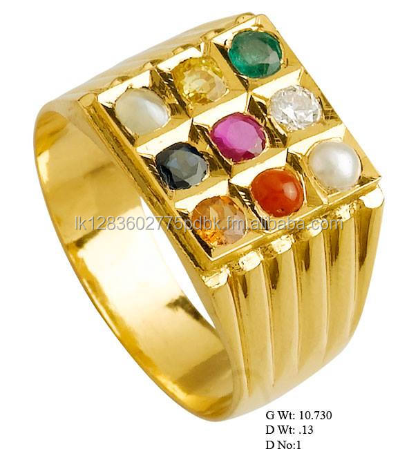 22 carrot pure gold ring.. with 9 natural gemstone
