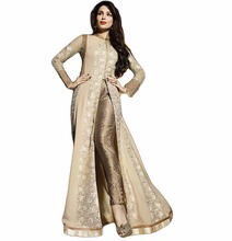 Dashing Semi-Stitched Cream Beige & Golden Colour Stylish Dress Material With Net Sleeves (salwar kameez Suits)
