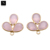 Rose chalcedony flower shape bezel component gold plated bail filigree chandelier findings for jewelry making