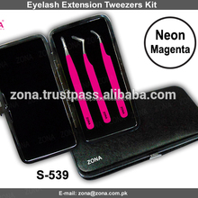 Neon Magenta 3-Pcs Eyelash Extension Tweezers Kit / Get Customized Lash Extension Tweezers In Magnetic Case