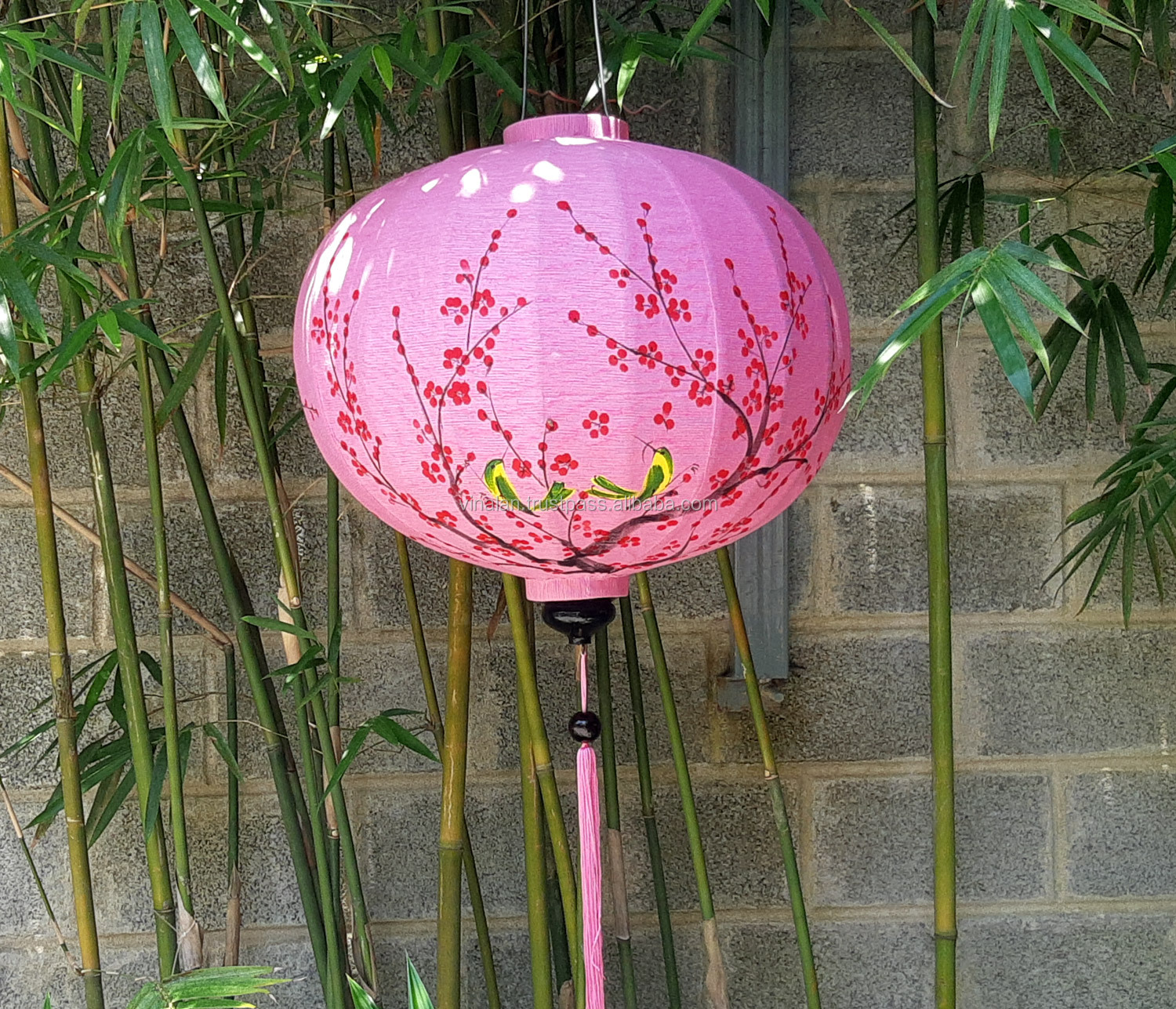Hoi An silk lanterns with Cherry Blossom and Birds handpainted - 60cm