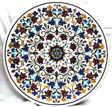 White Stone Marble Inlay Round Dining Table Top