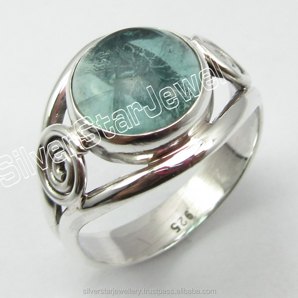 925 Solid Silver Natural APATITE Bridal Rings Size 5.75 Fashion Best Brand Tribal Style High Quality Jewellery Wholesaler