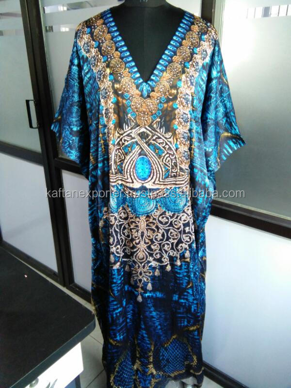 Dress Manufacturer in Georgette with digital printed long kaftan