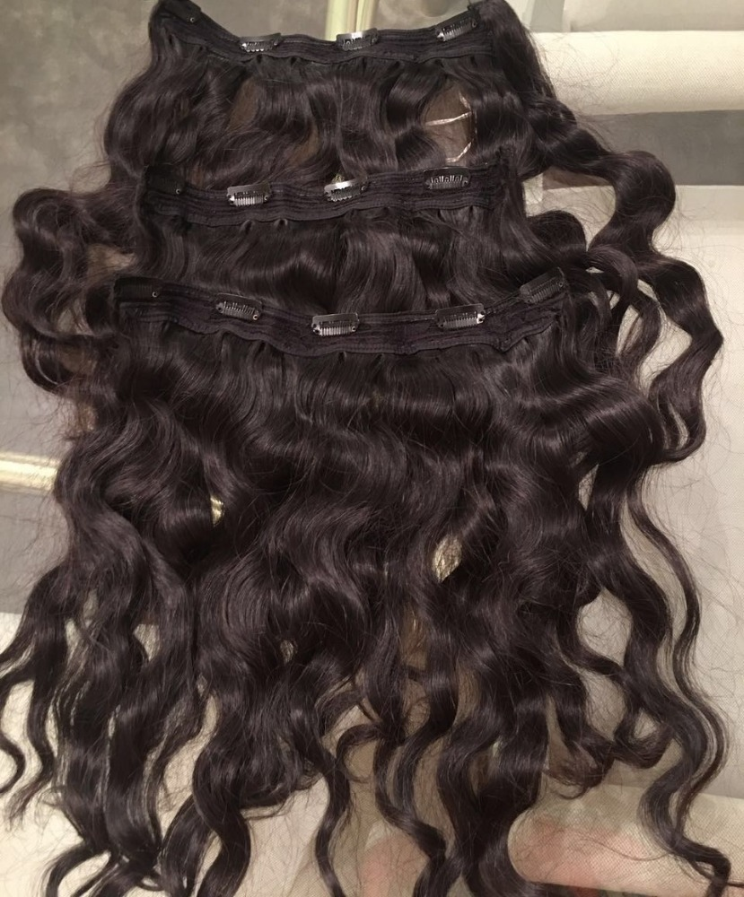 New products top quality virgin human hair wavy clip in human hair extensions from Ivirgohair Company