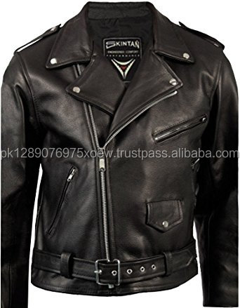 Mens Black Real 100% Genuine Leather Brando Motorcycle Biker Classic Motorbike Jacket by Pakistan