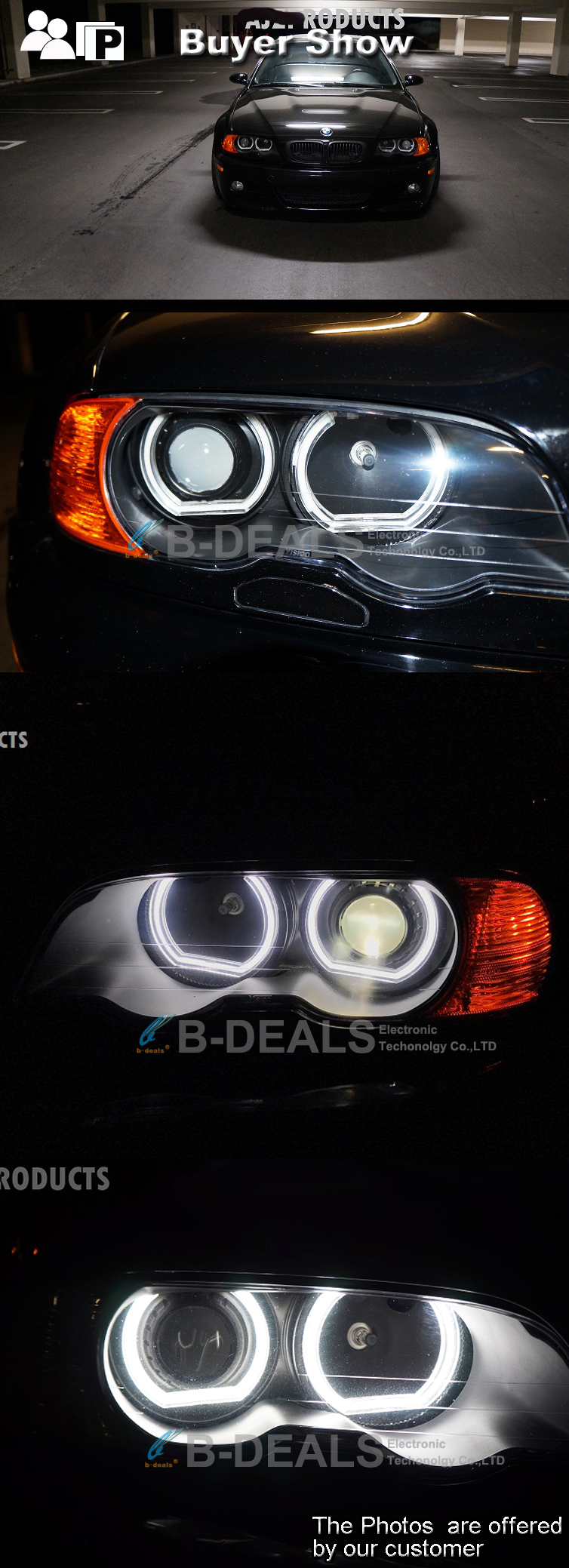 CE E-mark led dtm style angel eyes lighting for bbmw E36 E38 E39 E46