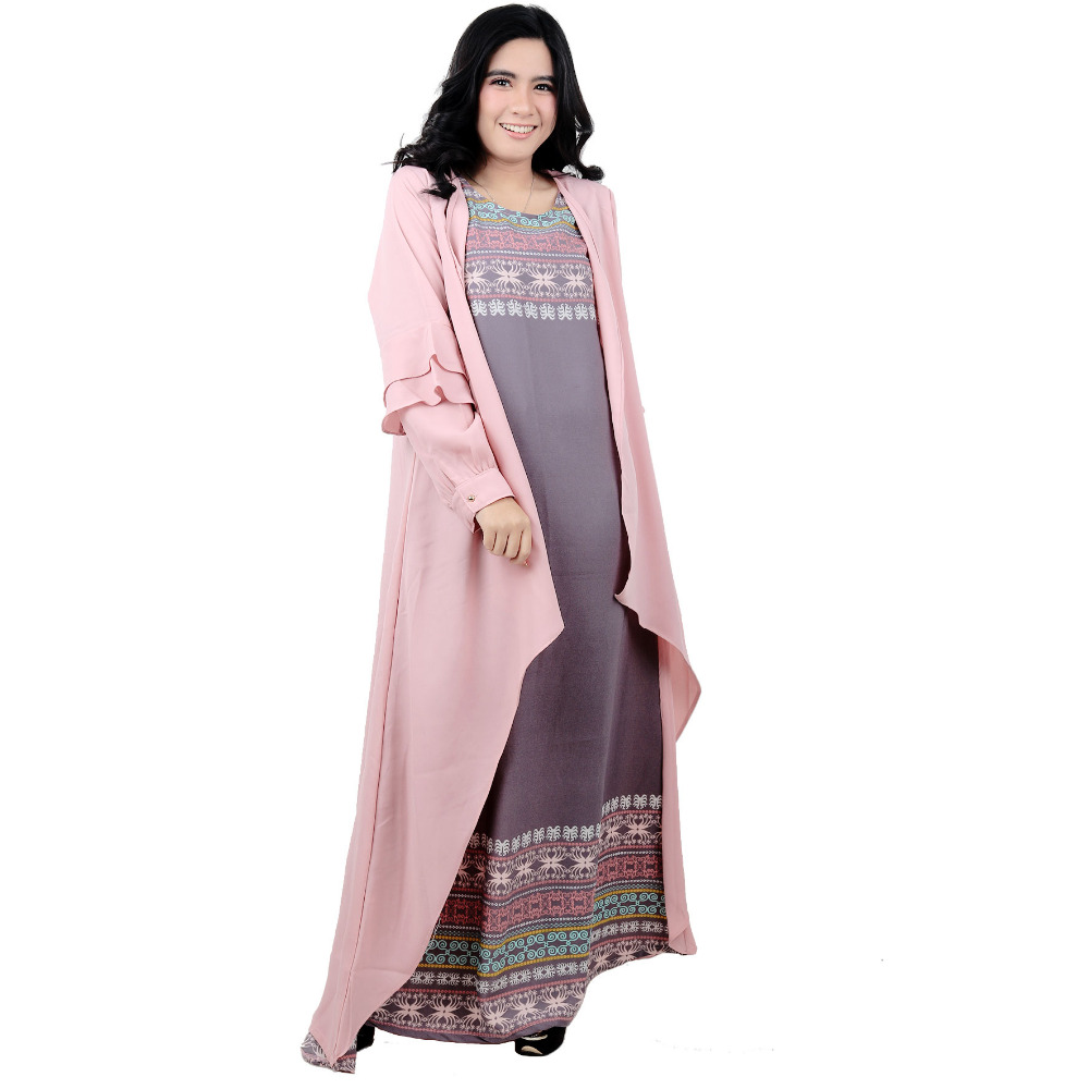 HIgh Quality Indonesian Printed Muslim Long Dress Two Piece Maxi Islamic Clothing