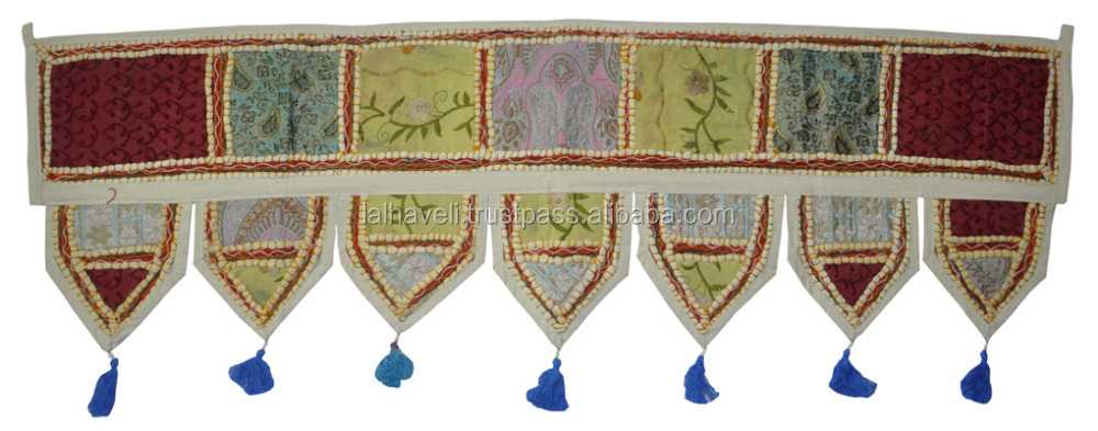 Indian Hand Made Classic Embroidered Patch Work Bohemian Door Hanging, Wall Hanging Tapestry Toran