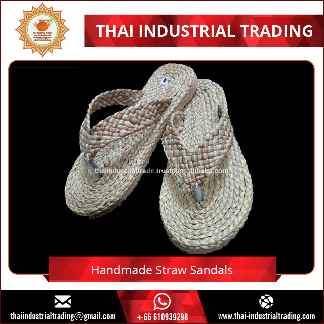 Thailand Summer Natural Straw Handmade Women Flip Flop Sandals