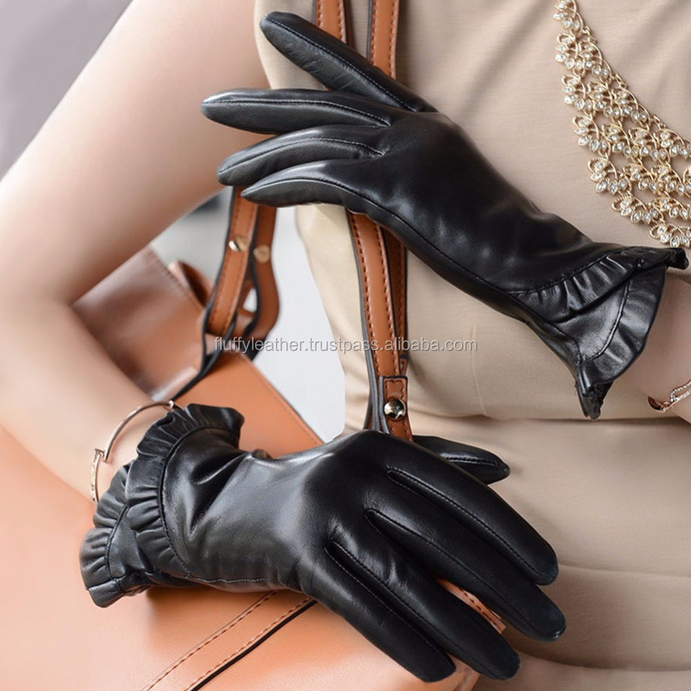 Fashion Ladies Winter Gloves Leather Warm Mittens Driving Gloves--FG-109
