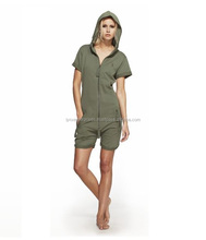 Fitted Short Onesie Army / Jumpsuit in Fleece / Short Sleeve and pant Jumpsuit / Hooded Jumpsuit / Jumpsuit