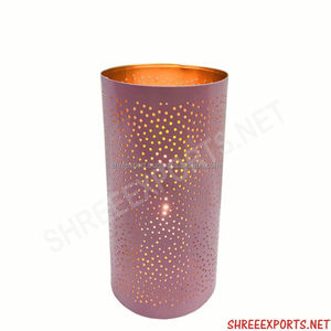 High Grade Patterned Cylindrical Shape Votive/Candle Holder w/ Glossy Pink Finish