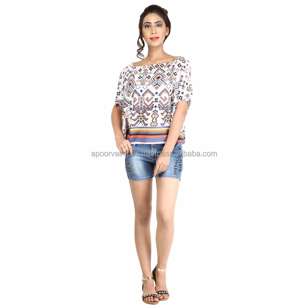 Cotton geometrical printed top Indigo short kaftan casual blouse off shoulder top