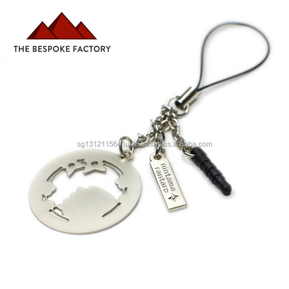 Metal cut out keychain with handphone anti-dust ear plug
