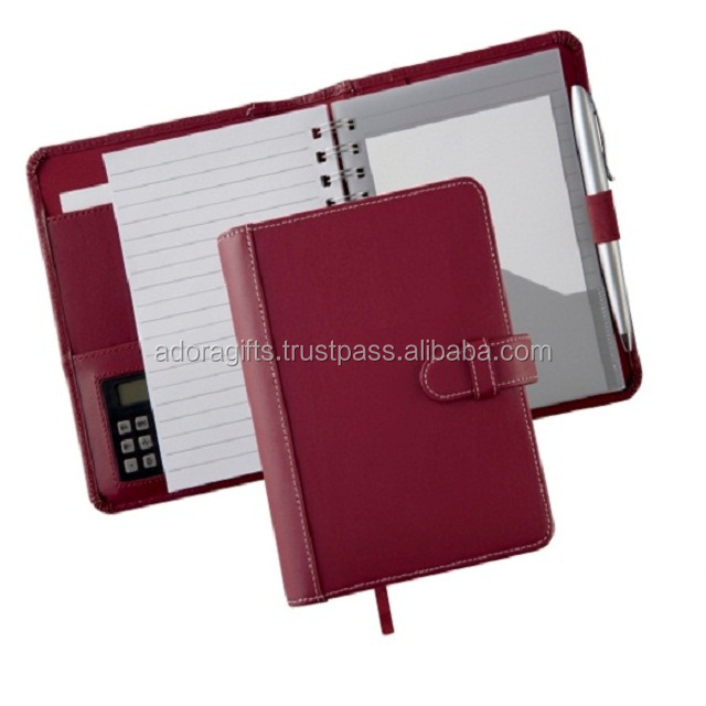 Leather Diary cover with Notebook, Business Card holder/ Pen Holder /Calculator Holder