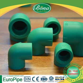 PPR pipe fittings 90 degree elbow/ PN 10 green fittings with high quality materials from middle east