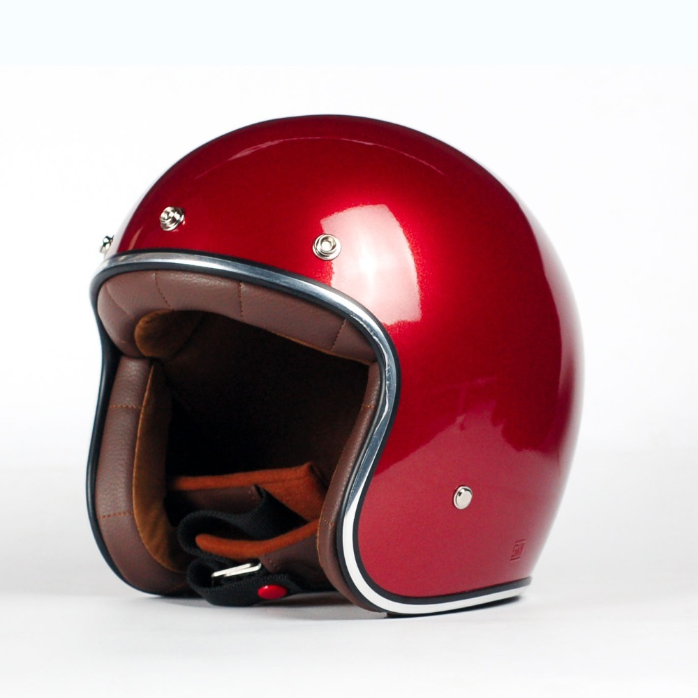 AGYO SS Candy Red GLOSS - DARK BROWN Padding Open Face Motorbike Helmet