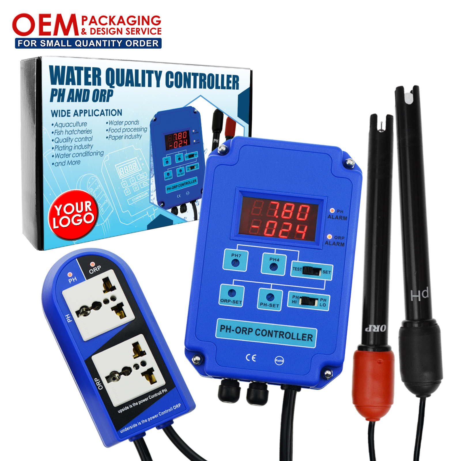 Digital 2 in 1 pH ORP Controller with Output Power Relay Control Water Quality Tester online measure(OEM packaging available)