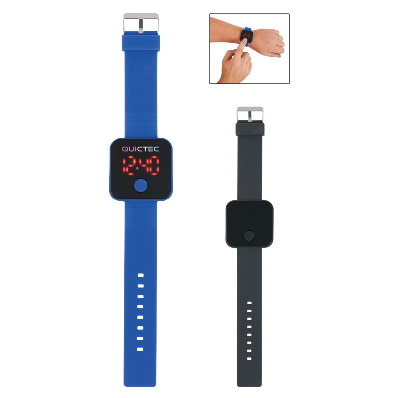 Square Unisex Digital LED Watch - silicone strap with buckle closure, touch button to change functions and comes with your logo