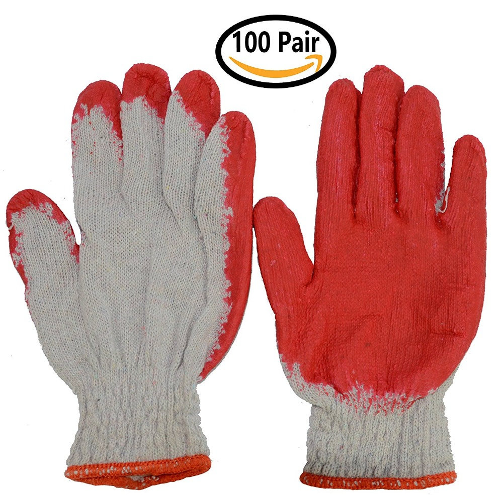 Hub Special, Construction Safety Working Gloves With Red Latex Rubber Palm Coated (100 Pairs)