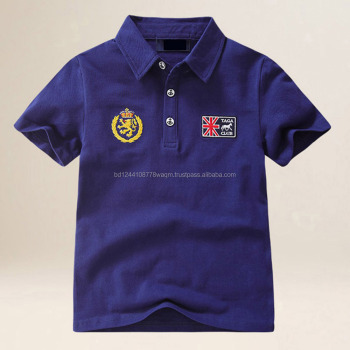 Boys custom logo embroidery fancy polo t-shirt