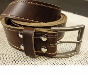 Custom Made Leather Belt For Men and Women Cow Leather Brown Belt with Brass Buckle